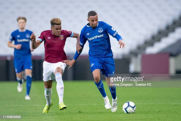 Brendan Galloway of Everton on the ball during the Premier League 2 game against West Ham United at London Stadium on April 29, 2019 in London,...