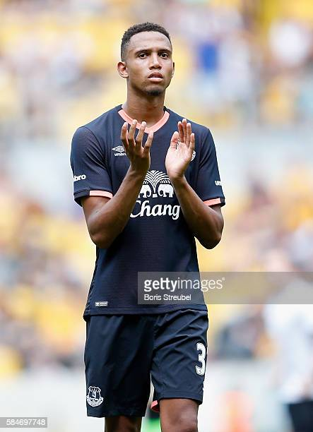 Brendan Galloway of FC Everton waves to his fans after the Bundeswehr Karriere Cup Dresden 2016 match between FC Everton and Real Betis at...