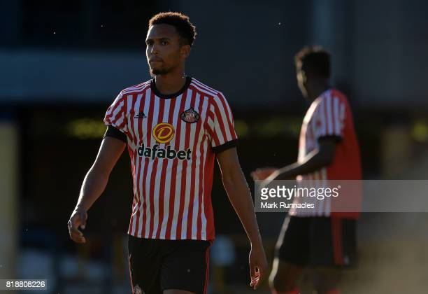 Brendan Galloway of Sunderland in action during the pre season friendly between Livingston and Sunderland at Almondvale Stadium on July 12, 2017 in...