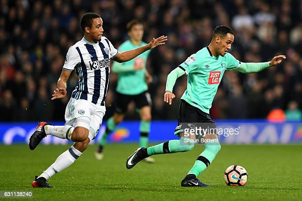 Brendan Galloway of West Bromwich Albion and Tom Ince in action during the Emirates FA Cup Third Round match between West Bromwich Albion and Derby...