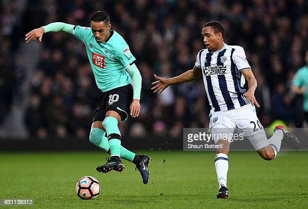 Brendan Galloway of West Bromwich Albion and Tom Ince of Derby County in action during the Emirates FA Cup Third Round match between West Bromwich...