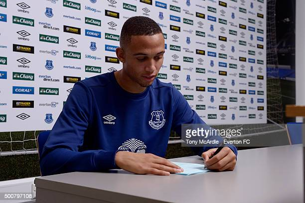 Brendan Galloway signs a new contract with Everton at Finch Farm on December 10, 2015 in Liverpool, England.