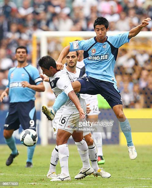 Brendan Gan of Sydney and Carlos Hernandez of the Victory contest possession during the round 27 A-League match between Sydney FC and the Melbourne...