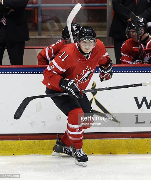Brendan Gaunce of Team Canada skates against Team Finland during the 2013 USA Hockey Junior Evaluation Camp at the Lake Placid Olympic Center on...