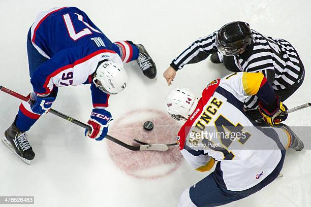 Brendan Gaunce of the Erie Otters battles for the puck on a faceoff against Brady Vail of the Windsor Spitfires on March 13 2014 at the WFCU Centre...