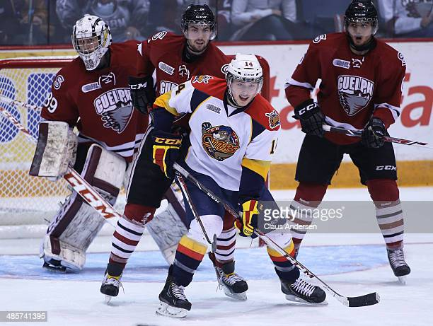 Brendan Gaunce of the Erie Otters waits to tip a shot against the Guelph Storm in Game Two of the OHL Western Conference Final at the Sleeman Centre...