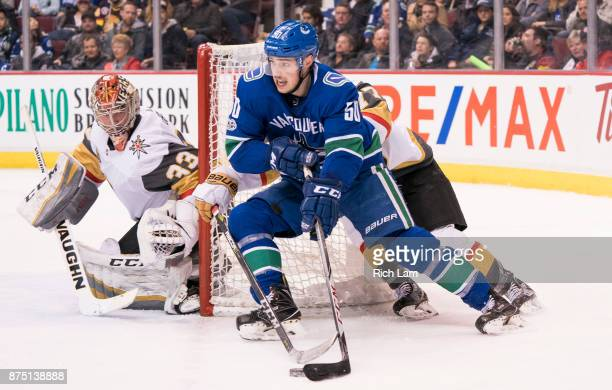 Brendan Gaunce of the Vancouver Canucks looks to get a shot on goalie Maxime Lagace of the Vegas Golden Knights in NHL action on November 2017 at...