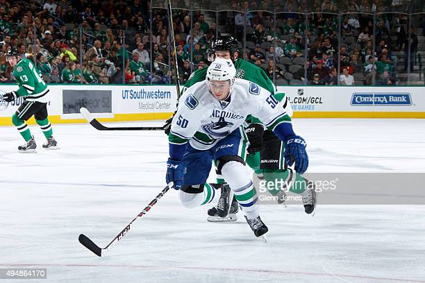 Brendan Gaunce of the Vancouver Canucks skates against the Dallas Stars at the American Airlines Center on October 29 2015 in Dallas Texas