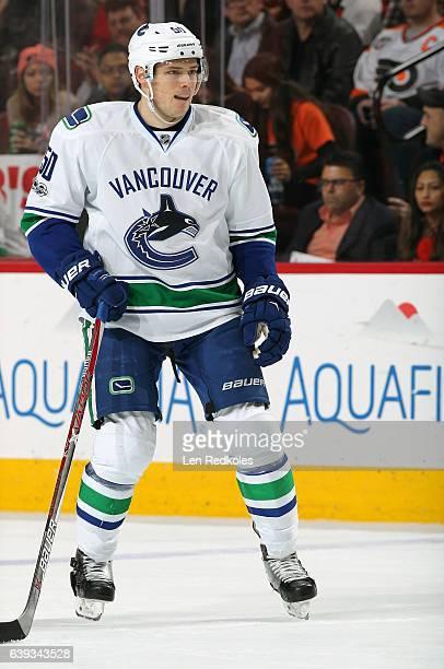 Brendan Gaunce of the Vancouver Canucks skates against the Philadelphia Flyers on January 12 2017 at the Wells Fargo Center in Philadelphia...