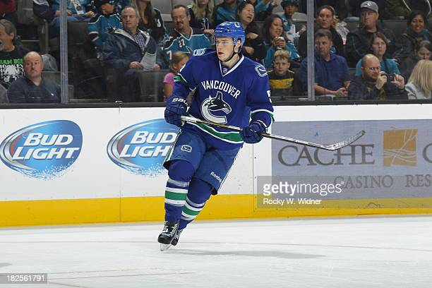 Brendan Gaunce of the Vancouver Canucks skates against the San Jose Sharks during a preseason NHL game at SAP Center on September 24 2013 in San Jose...