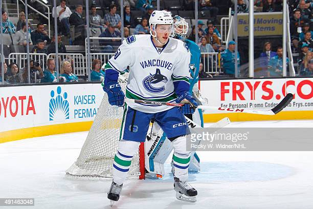 Brendan Gaunce of the Vancouver Canucks skates against the San Jose Sharks at SAP Center on September 29 2015 in San Jose California