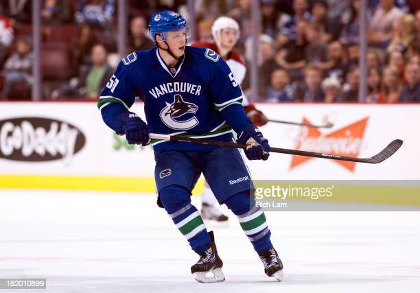 Brendan Gaunce of the Vancouver Canucks skates during NHL preseason action against the Phoenix Coyotes on September 23 2013 at Rogers Arena in...