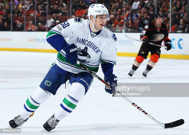 Brendan Gaunce of the Vancouver Canucks skates during the game against the Anaheim Ducks on March 4 2017 at Honda Center in Anaheim California
