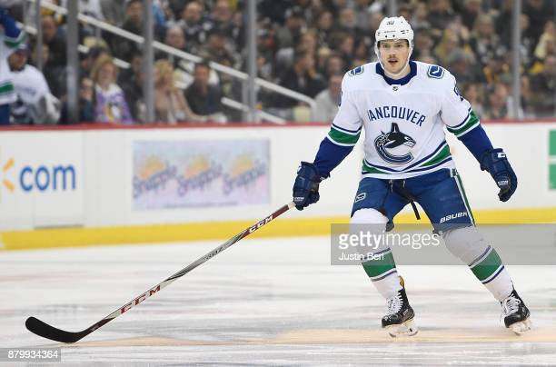 Brendan Gaunce of the Vancouver Canucks skates in the first period during the game against the Pittsburgh Penguins at PPG PAINTS Arena on November 22...
