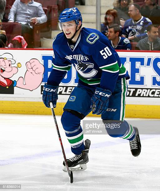 Brendan Gaunce of the Vancouver Canucks skates up ice during their NHL game against the Arizona Coyotes at Rogers Arena March 9 2016 in Vancouver...