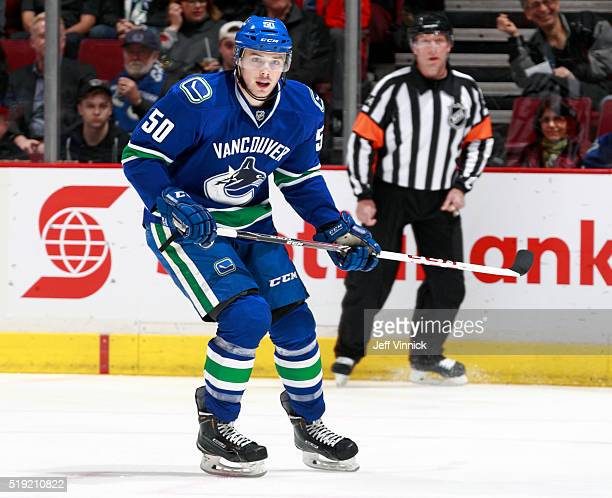 Brendan Gaunce of the Vancouver Canucks skates up ice during their NHL game against the San Jose Sharks at Rogers Arena March 3 2016 in Vancouver...