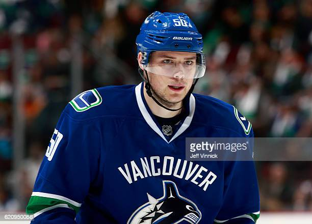 Brendan Gaunce of the Vancouver Canucks skates up ice during their NHL game against the Washington Capitals at Rogers Arena October 29 2016 in...