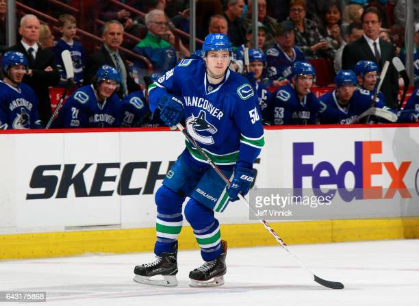 Brendan Gaunce of the Vancouver Canucks skates up ice during their NHL game against the Calgary Flames at Rogers Arena February 18 2017 in Vancouver...