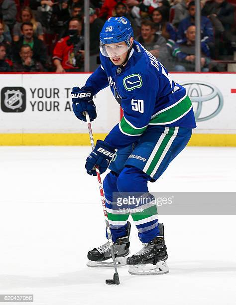 Brendan Gaunce of the Vancouver Canucks skates up ice with the puck during their NHL game against the Ottawa Senators at Rogers Arena October 25 2016...