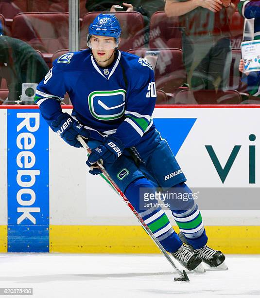 Brendan Gaunce of the Vancouver Canucks skates up ice with the puck during their NHL game against the Edmonton Oilers at Rogers Arena October 28 2016...