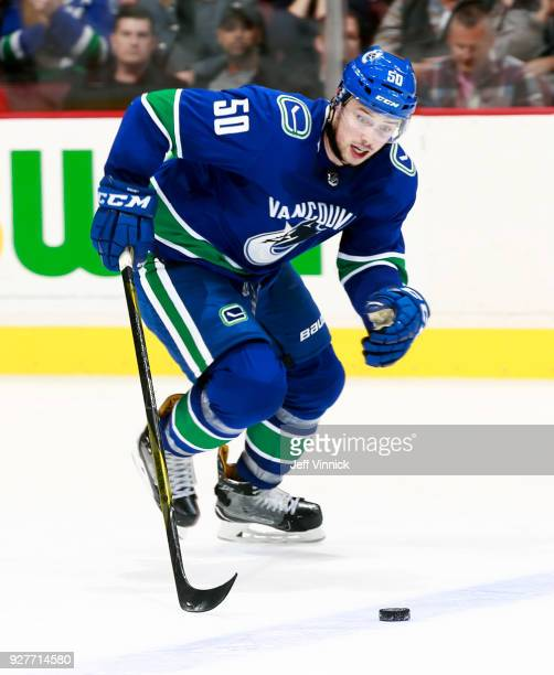 Brendan Gaunce of the Vancouver Canucks skates up ice with the puck during their NHL game against the Chicago Blackhawks at Rogers Arena December 28...