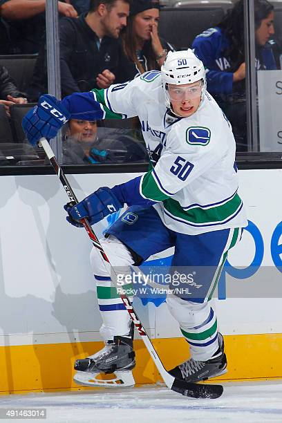Brendan Gaunce of the Vancouver Canucks skates with the puck against the San Jose Sharks at SAP Center on September 29 2015 in San Jose California