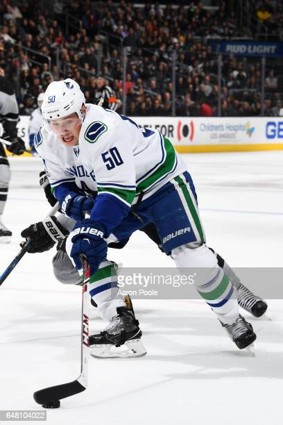 Brendan Gaunce of the Vancouver Canucks skates with the puck during the game against the Los Angeles Kings on March 4 2017 at Staples Center in Los...