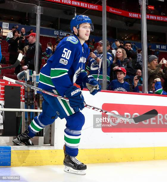 Brendan Gaunce of the Vancouver Canucks steps onto the ice during their NHL game against the New York Islanders at Rogers Arena March 9 2017 in...