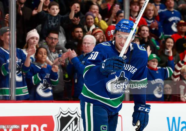 Brendan Gaunce of the Vancouver Canucks waves to fans after being named first star after their NHL game against the Chicago Blackhawks at Rogers...