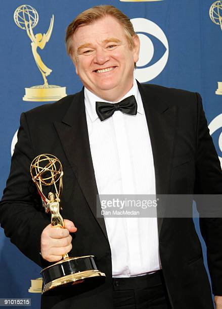 Brendan Gleeson poses with his award for Outstanding Lead Actor in a Miniseries or Movie for Into the Storm in the press room at the 61st Primetime...