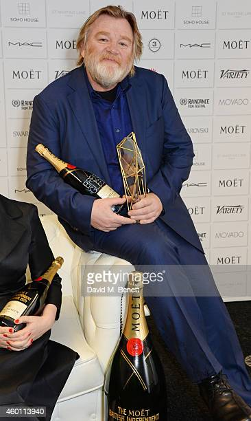 Brendan Gleeson winner of the Best Actor award for Calvary poses at The Moet British Independent Film Awards 2014 at Old Billingsgate Market on...