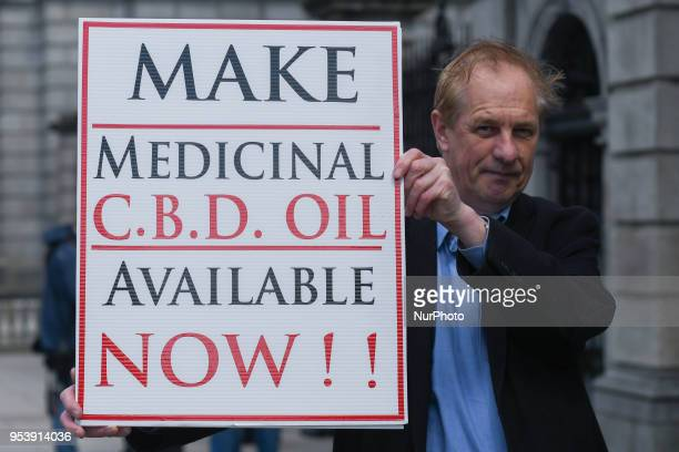 Brendan Gorman seen near Leinster House campaigning against the State which refuses to licence CBD Oil and which sidelines victims of Vaccine Injury...