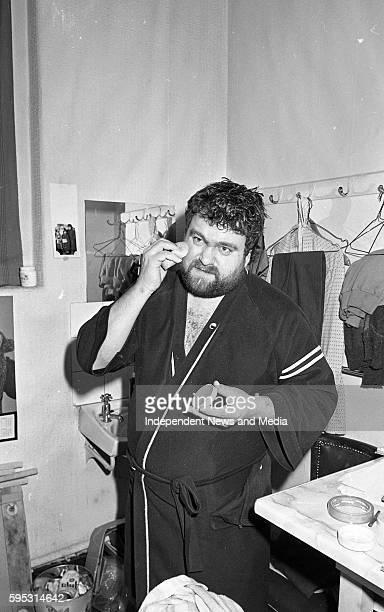 Brendan Grace prepairing before his show in the Gaiety Theatre, Dublin, circa January 1986 .