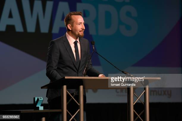 Brendan Greene accepts the awards for Esports Game of the Year Trending Game of the Year and Excellence in Multiplayer backstage at SXSW Gaming...