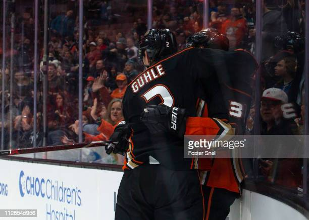 Brendan Guhle and Jakob Silfverberg of the Anaheim Ducks celebrate Silfverberg's firstperiod goal during the game against the Colorado Avalanche at...