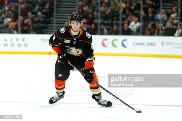 Brendan Guhle of the Anaheim Ducks looks to pass during the third period against the Colorado Avalanche at Honda Center on March 03 2019 in Anaheim...