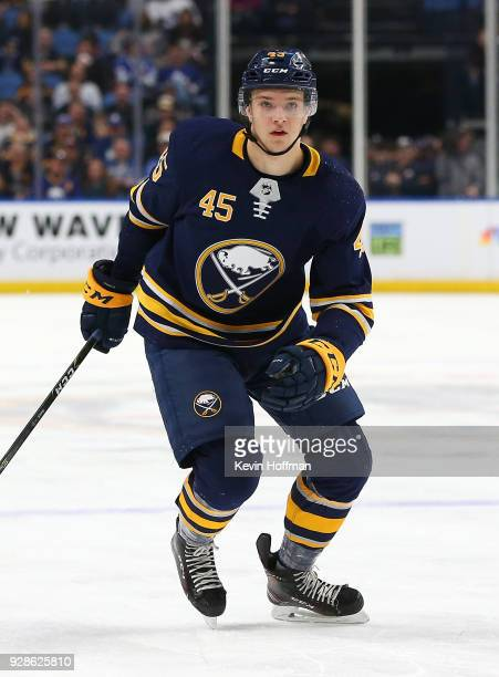 Brendan Guhle of the Buffalo Sabres during the game against the Toronto Maple Leafs at KeyBank Center on March 5 2018 in Buffalo New York
