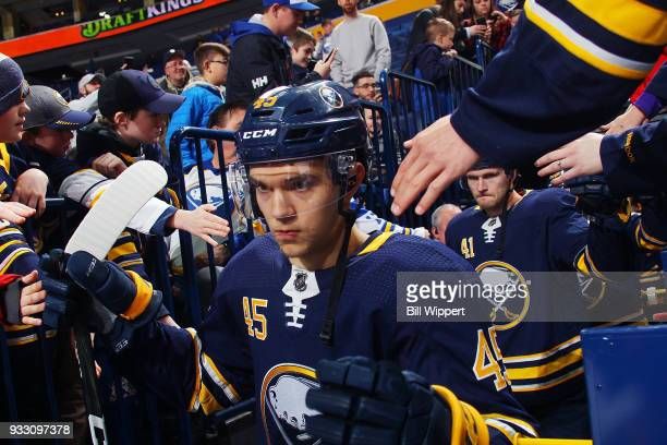Brendan Guhle of the Buffalo Sabres heads to the ice before an NHL game against the Vegas Golden Knights on March 10 2018 at KeyBank Center in...