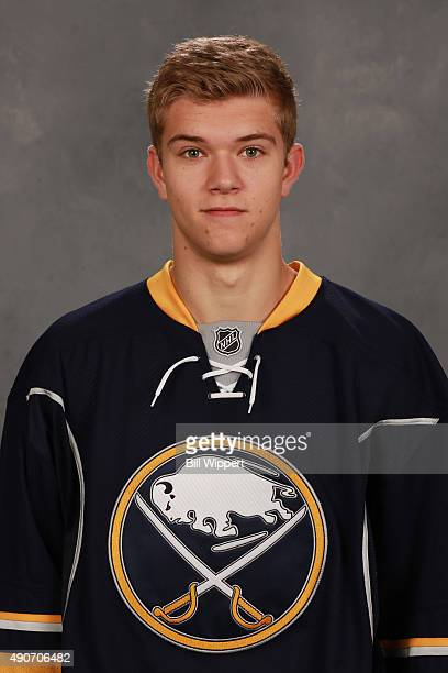 Brendan Guhle of the Buffalo Sabres poses for his official headshot for the 20152016 season on September 17 2015 at the First Niagara Center in...