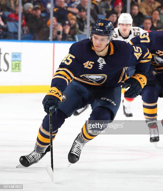 Brendan Guhle of the Buffalo Sabres skates during an NHL game against the Florida Panthers on December 18 2018 at KeyBank Center in Buffalo New York