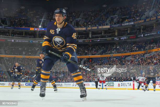 Brendan Guhle of the Buffalo Sabres skates during an NHL game against the Columbus Blue Jackets on January 11 2018 at KeyBank Center in Buffalo New...