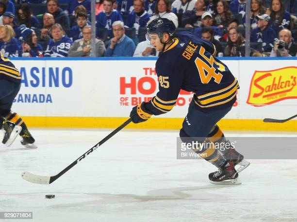 Brendan Guhle of the Buffalo Sabres skates during an NHL game against the Toronto Maple Leafs on March 5 2018 at KeyBank Center in Buffalo New York...