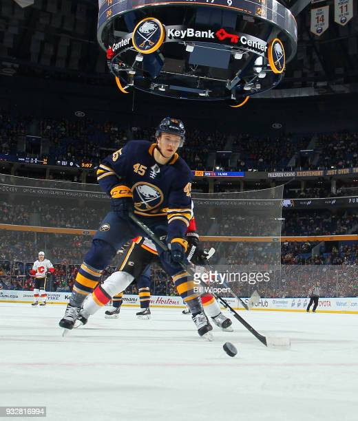 Brendan Guhle of the Buffalo Sabres skates during an NHL game against the Calgary Flames on March 7 2018 at KeyBank Center in Buffalo New York