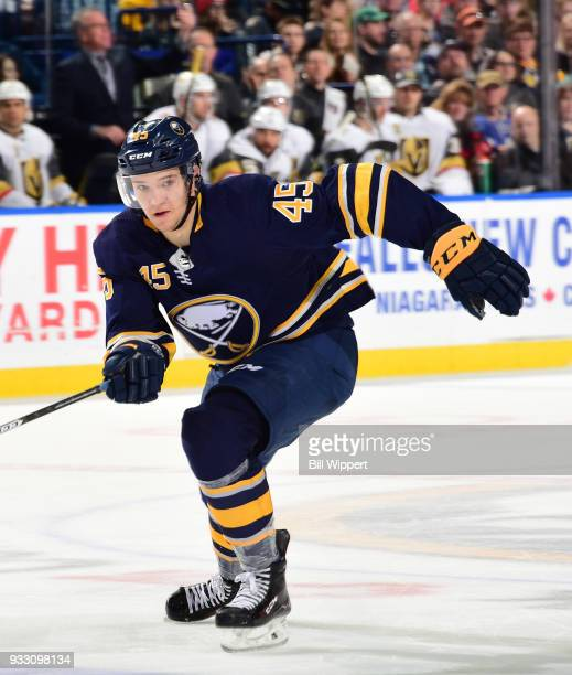 Brendan Guhle of the Buffalo Sabres skates during an NHL game against the Vegas Golden Knights on March 10 2018 at KeyBank Center in Buffalo New York