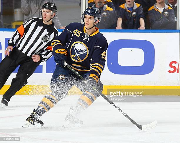 Brendan Guhle of the Buffalo Sabres skates in his first NHL game against the Boston Bruins at the KeyBank Center on December 3 2016 in Buffalo New...