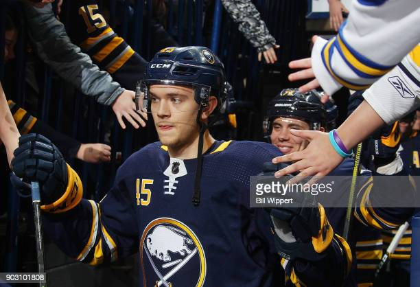 Brendan Guhle of the Buffalo Sabres takes to the ice before an NHL game against the Winnipeg Jets on January 9 2018 at KeyBank Center in Buffalo New...