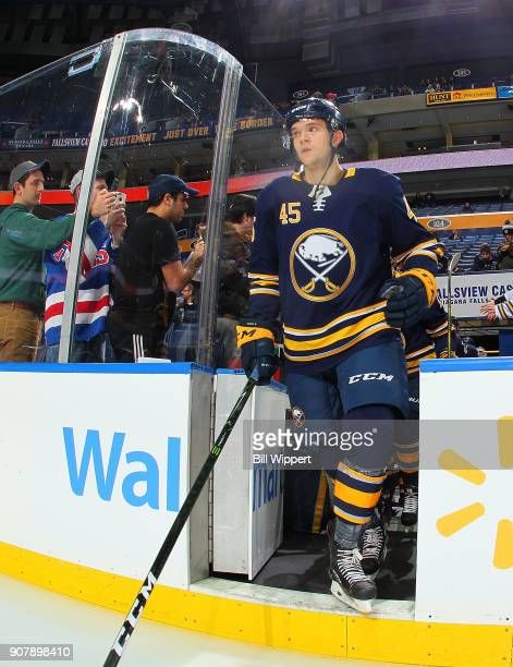 Brendan Guhle of the Buffalo Sabres takes to the ice before an NHL game against the Columbus Blue Jackets on January 11 2018 at KeyBank Center in...