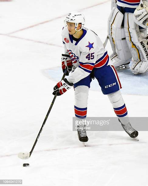 Brendan Guhle of the Rochester Americans carries the puck up ice against the Toronto Marlies during AHL game action on January 12 2019 at CocaCola...