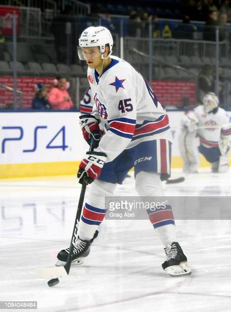 Brendan Guhle of the Rochester Americans skates in warmup prior to a game against the Toronto Marlies on January 12 2019 at CocaCola Coliseum in...