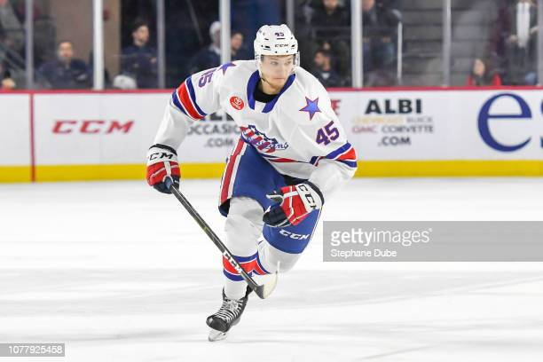 Brendan Guhle of the Rochester Americans skating up the ice against the Laval Rocket at Place Bell on January 5 2019 in Laval Quebec